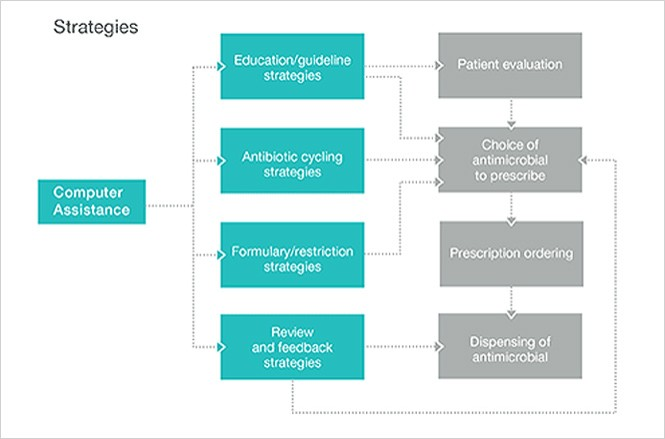 Antimicrobial stewardship strategies for impacting the stages of patient treatment